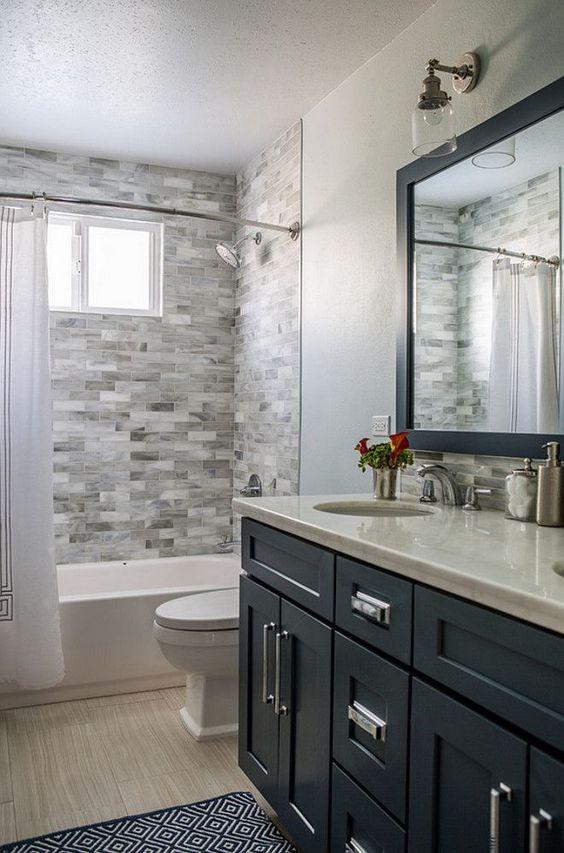 Guest Bathroom Ideas Decorative Stone Wall Tile - Harptimes.com