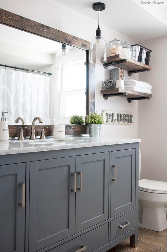 Guest Bathroom Ideas Gray Cabinet and Dark Wood Frame - Harptimes.com