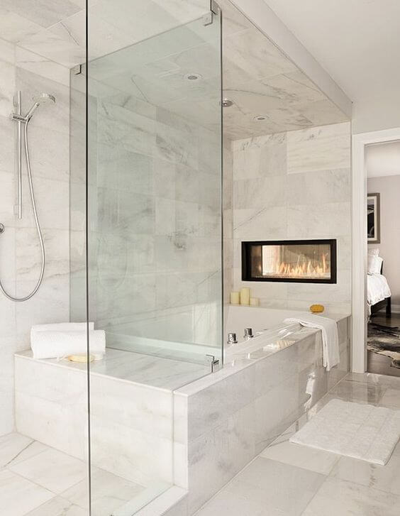 Luxurious Master Bathroom Ideas with Electric Fireplace