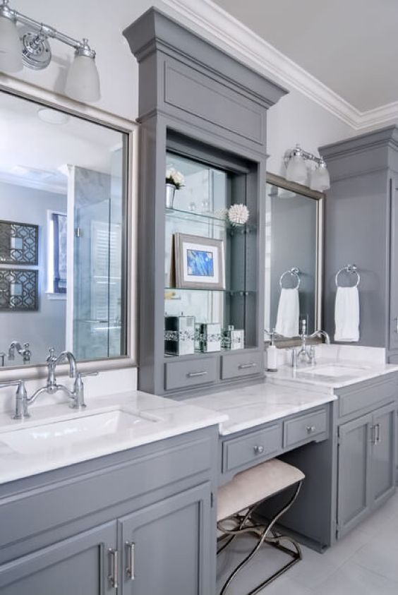 Master Bathroom Ideas with Makeup Vanity - Harptimes.com
