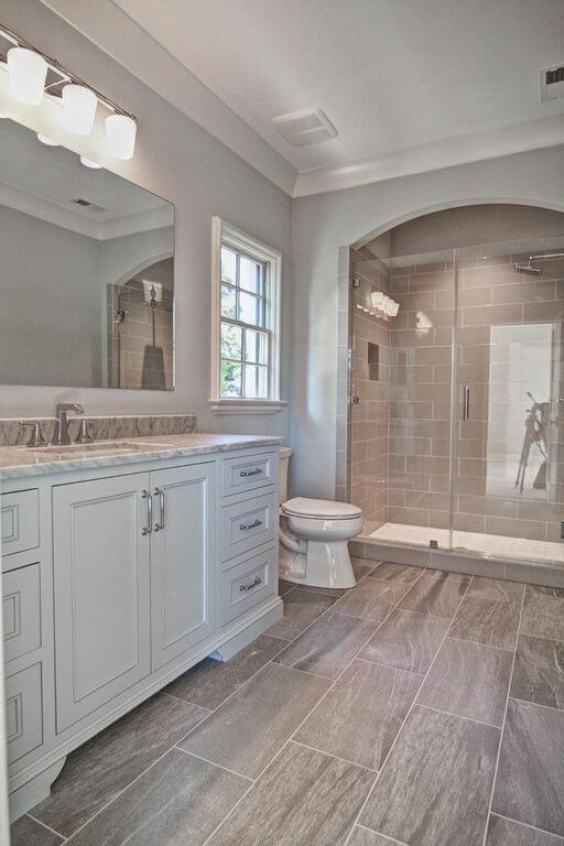 Master Bathroom Ideas with Wood Grain Floor - Harptimes.com