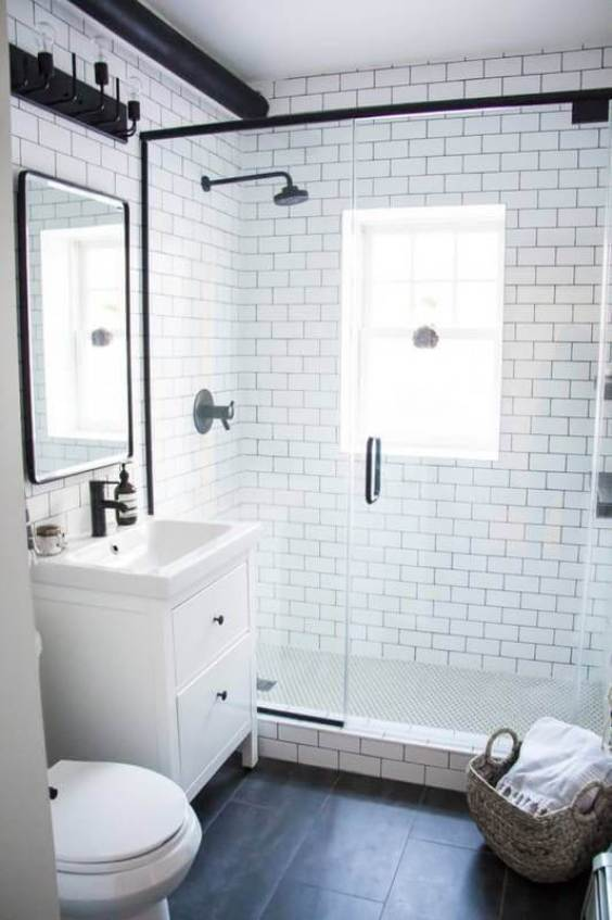 Modern White Subway Master Bathroom Ideas - Harptimes.com
