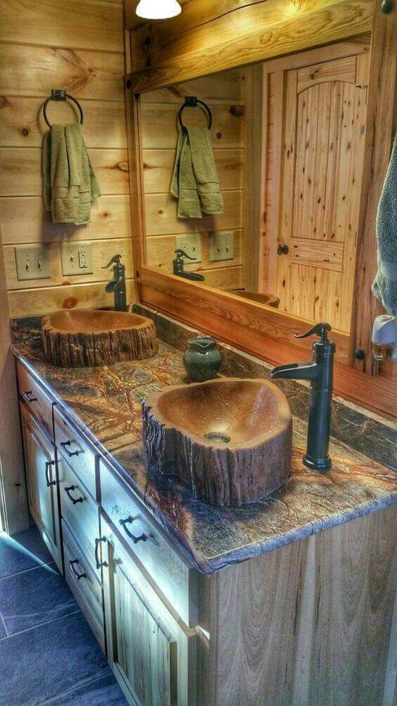 Rustic Bathroom Ideas Wooden Log Sink Tree Basin Made of Concrete