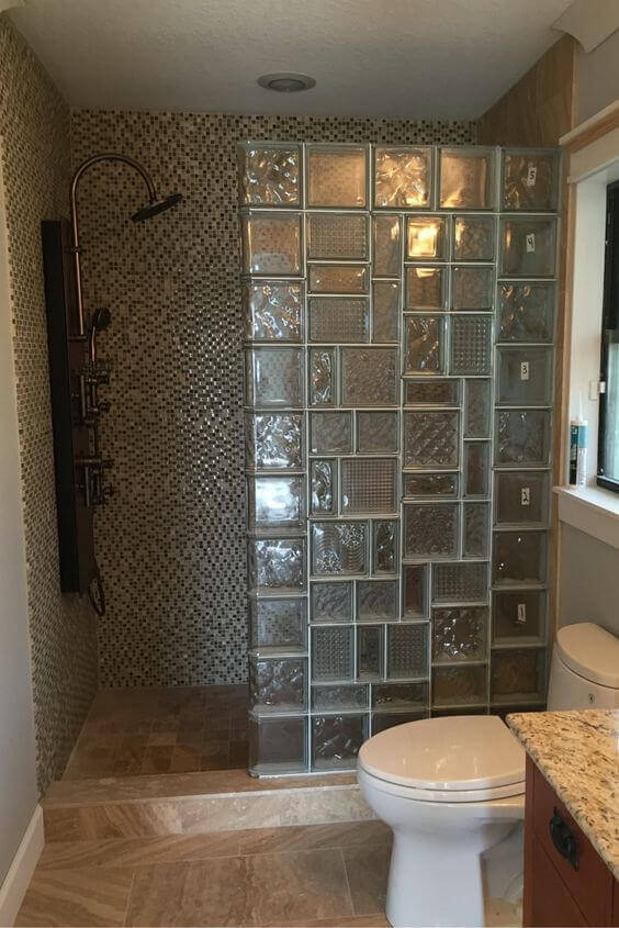 Walk In Shower Tile Design Ideas with Glass Block - Harptimes.com