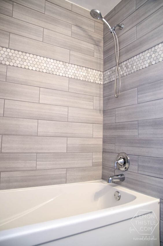 Walk In Shower Tile Ideas Gray Subway Tile with Hexagonal Marble Accent - Harptimes.com