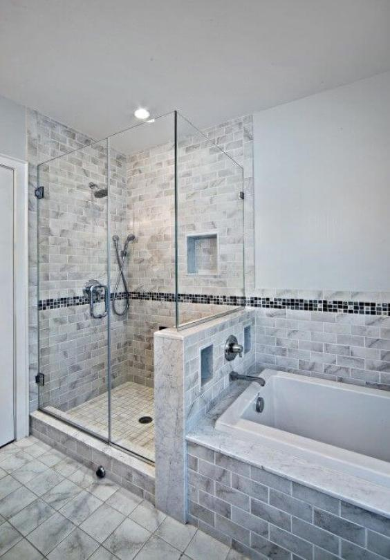Walk In Shower Tile Ideas Half Bath Half Shower Concept - Harptimes.com