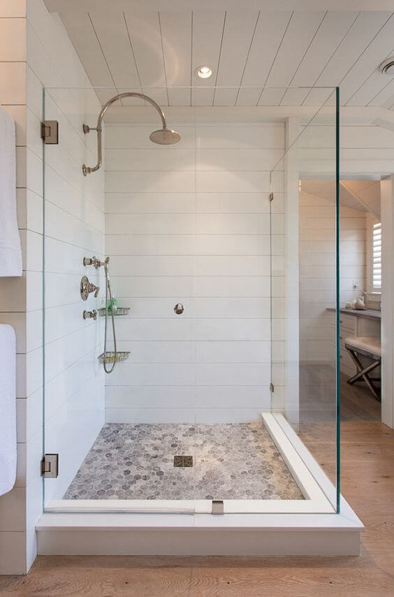 Walk In Shower Tile Ideas Pebble Tile Flooring for Shower - Harptimes.com