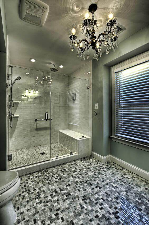 Walk In Shower Tile Ideas Royal Walk-In Shower with Chandelier - Harptimes.com