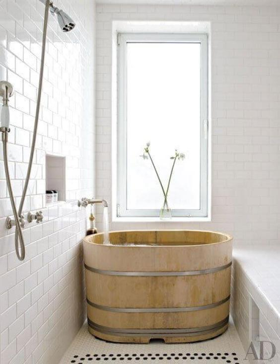Walk In Shower Tile Ideas with Natural Solid Wood Tub - Harptimes.com