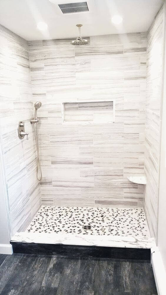 Walk In Shower Tile Ideas with Wood Grain Tile - Harptimes.com