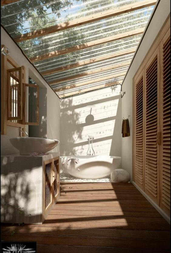 Outdoor Shower Ideas Semi Outdoor Bathroom with a See-Through Roof - Harptimes.com