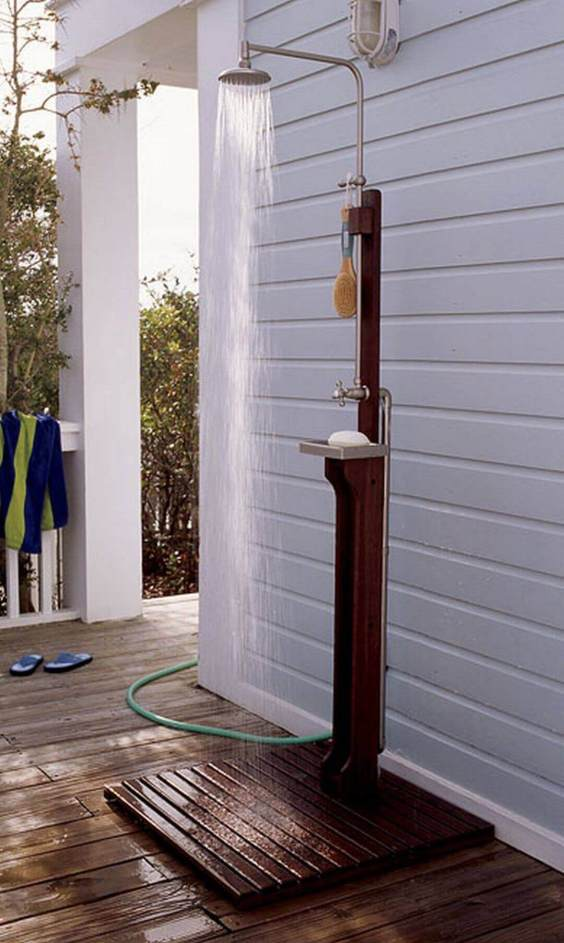 Simple Outdoor Shower Ideas Freestanding Shower Kits - Harptimes.com