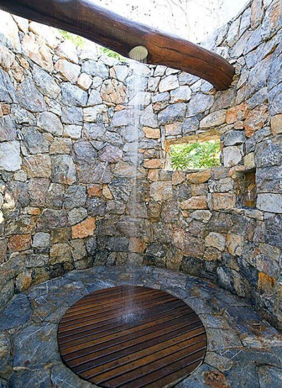 Stone Outdoor Shower Ideas - Harptimes.com