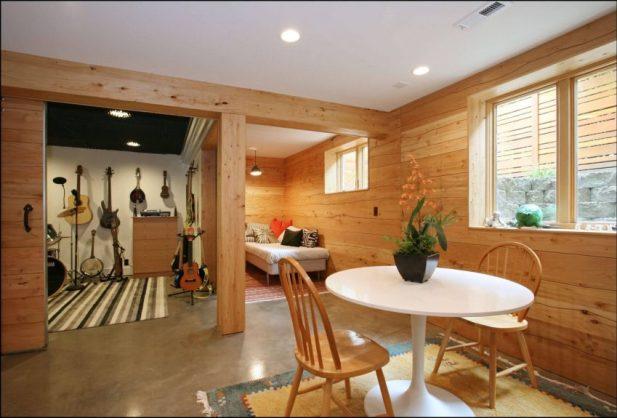 Basement Wall Ideas Apply Wood Element