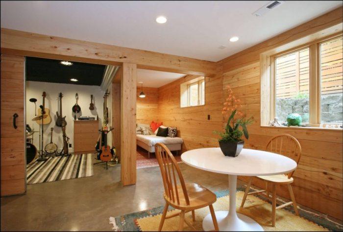 Unfinished Basement Wall Ideas Apply Wood Element