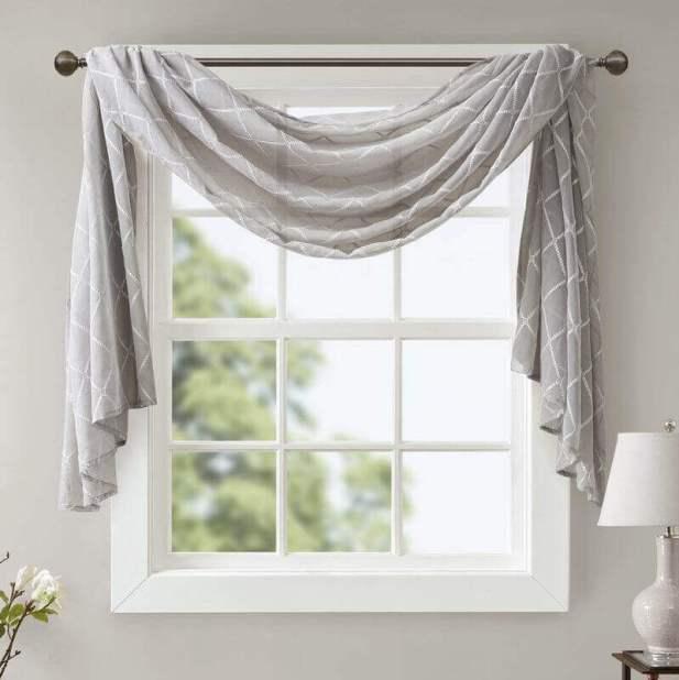 Having Curtain Scarves for Window Living Room Decor Ideas