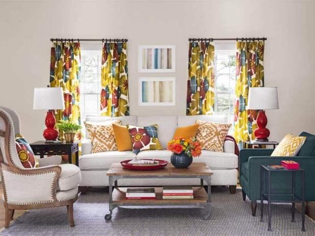 Impressive Pattern on Curtains Living Room Ideas