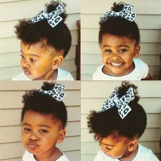 Little Black Baby Girl Hairstyles with High Ponytail