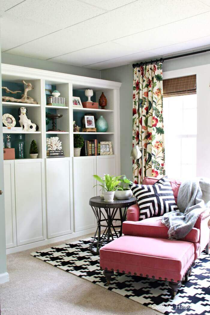Trendy Retro Floral-Patterned Curtain Living Room Ideas - Harptimes.com