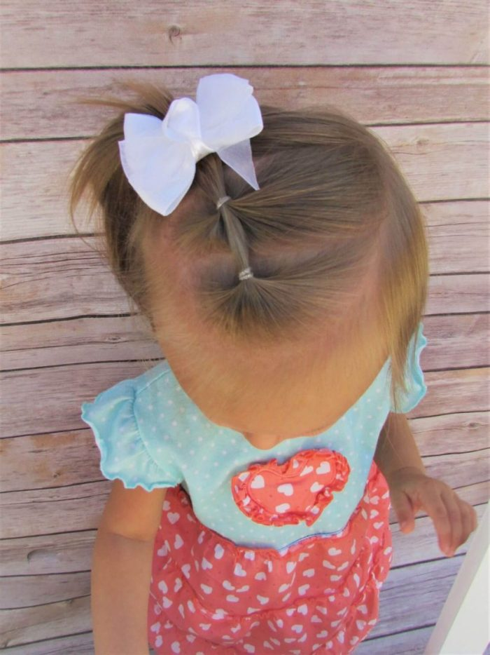 Triple Tie Baby Hairstyles for Girl with Bow