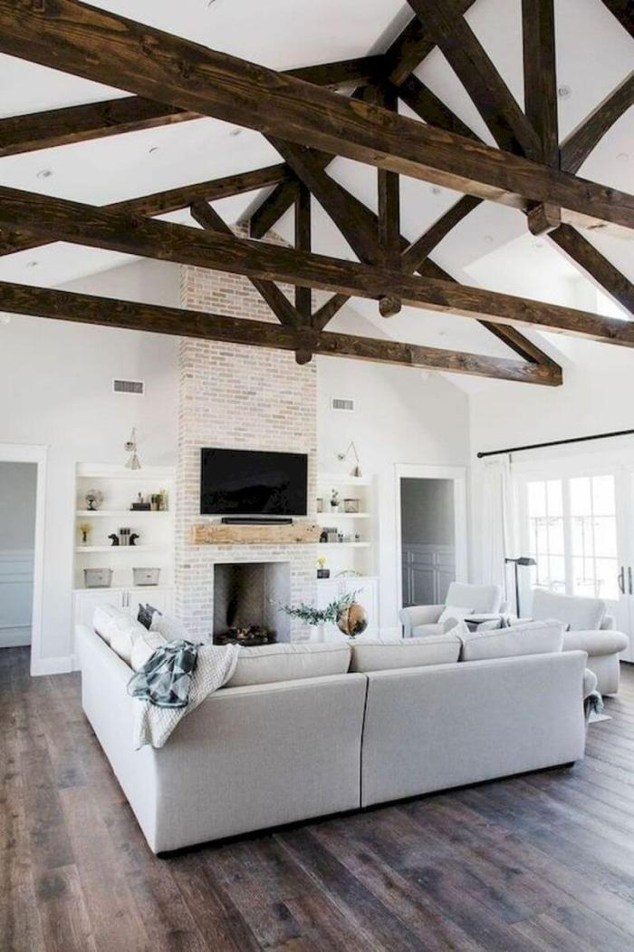 White and Neat Modern Farmhouse Living Room Ideas
