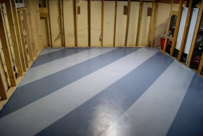 Basement Floor Paint with Diagonal Stripes Ideas