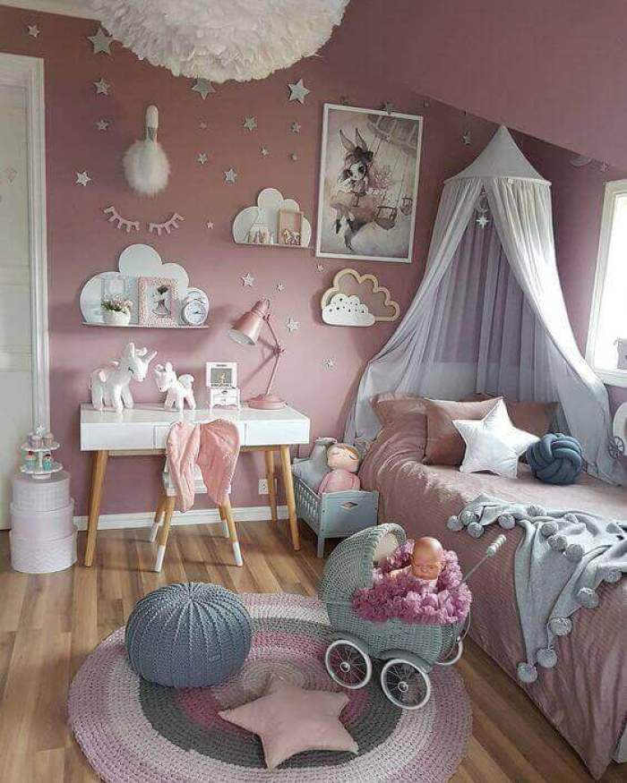 Baby Girl Bedroom Ideas Wallpaper with Fancy Accents - Harptimes.com