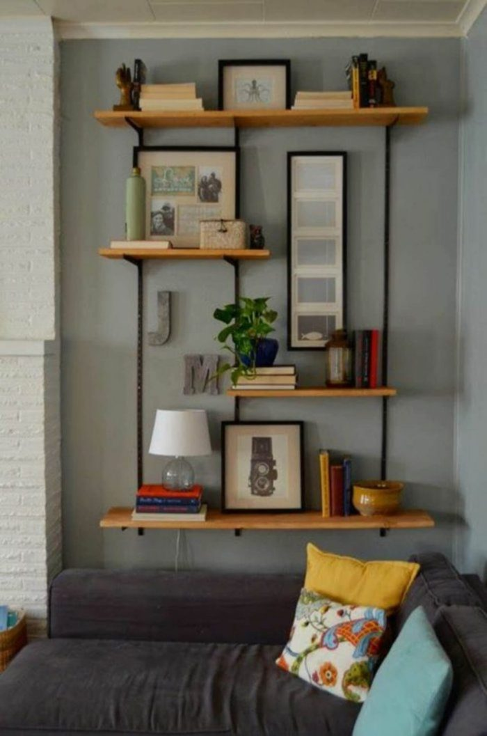 Full Modern Wall Shelving Ideas for Living Room