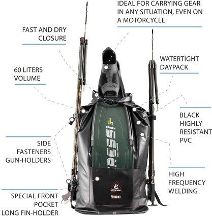 Cressi Gara Drybag Seesack Trockenrucksack Finholder Gunholder Rucksack Spearfishing