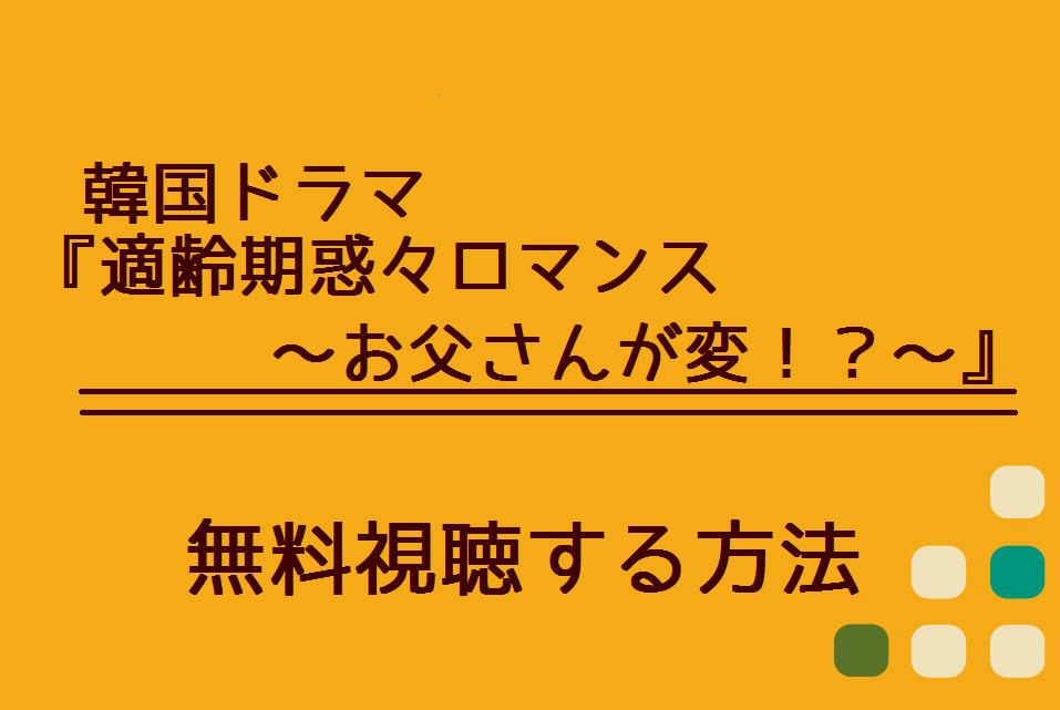韓国ドラマ『適齢期惑々ロマンス~お父さんが変!?~』イメージ図