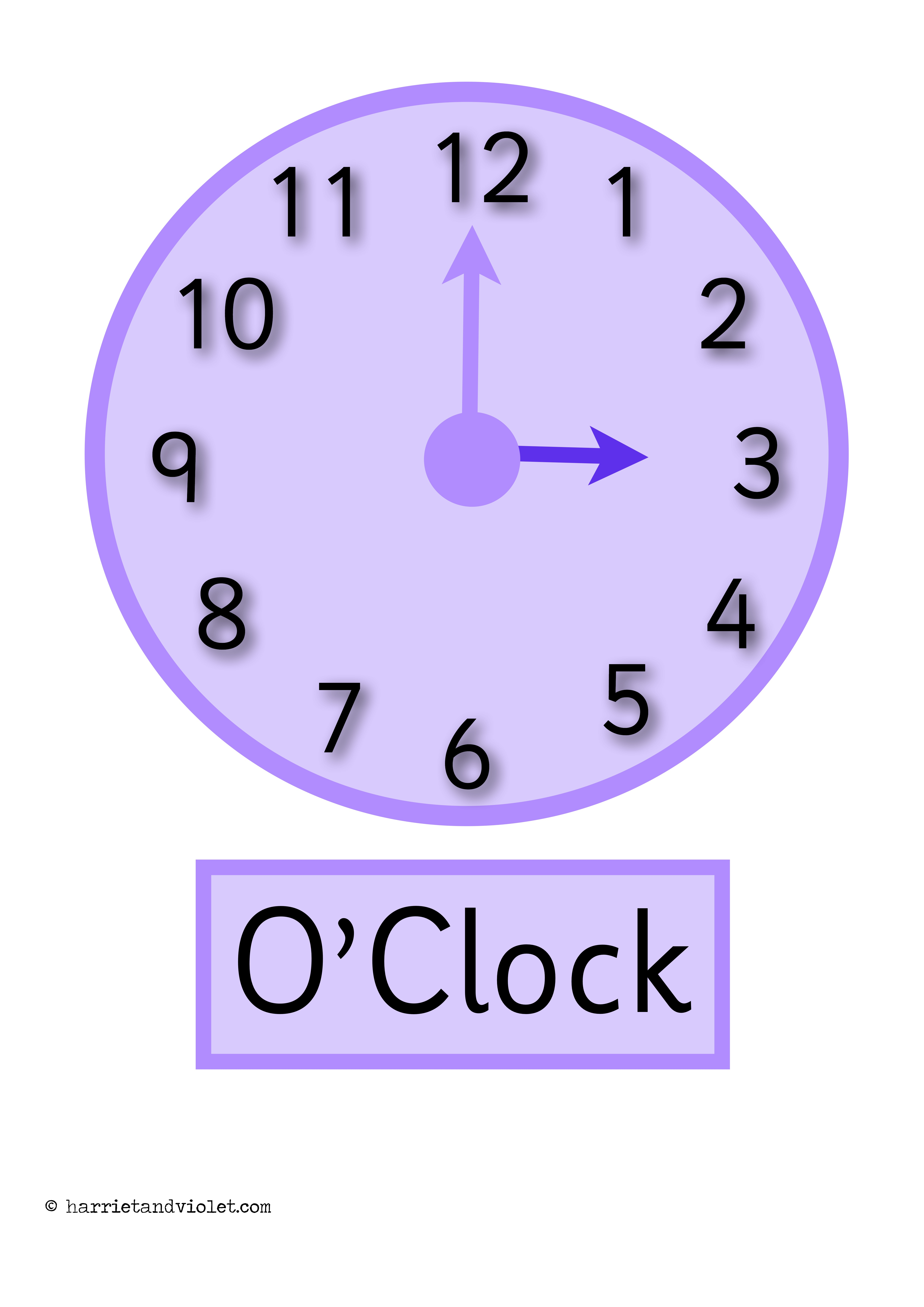 Clock Posters O Clock Half Past Display Or Flashcards