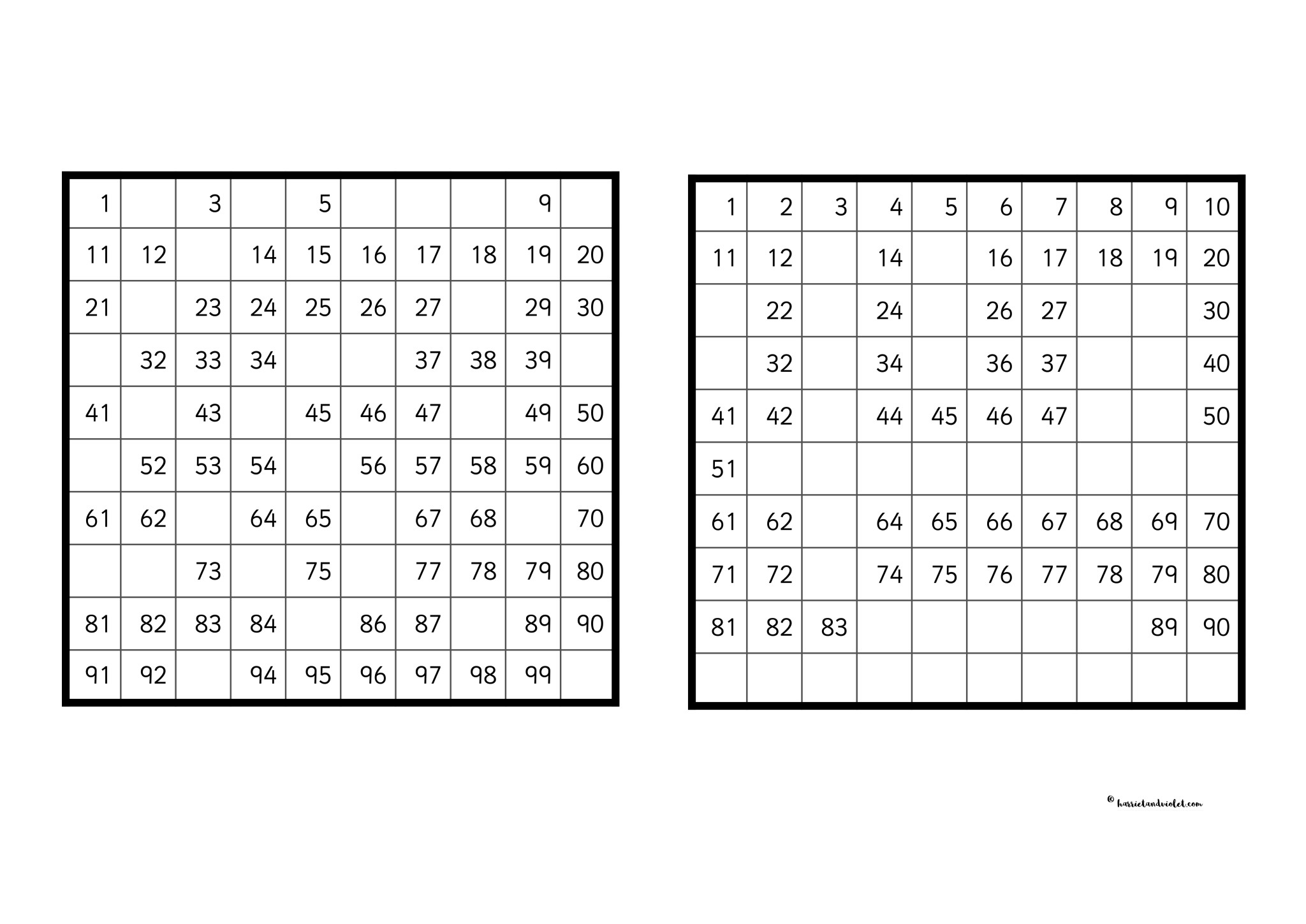 Missing Number Activity Hundred Square