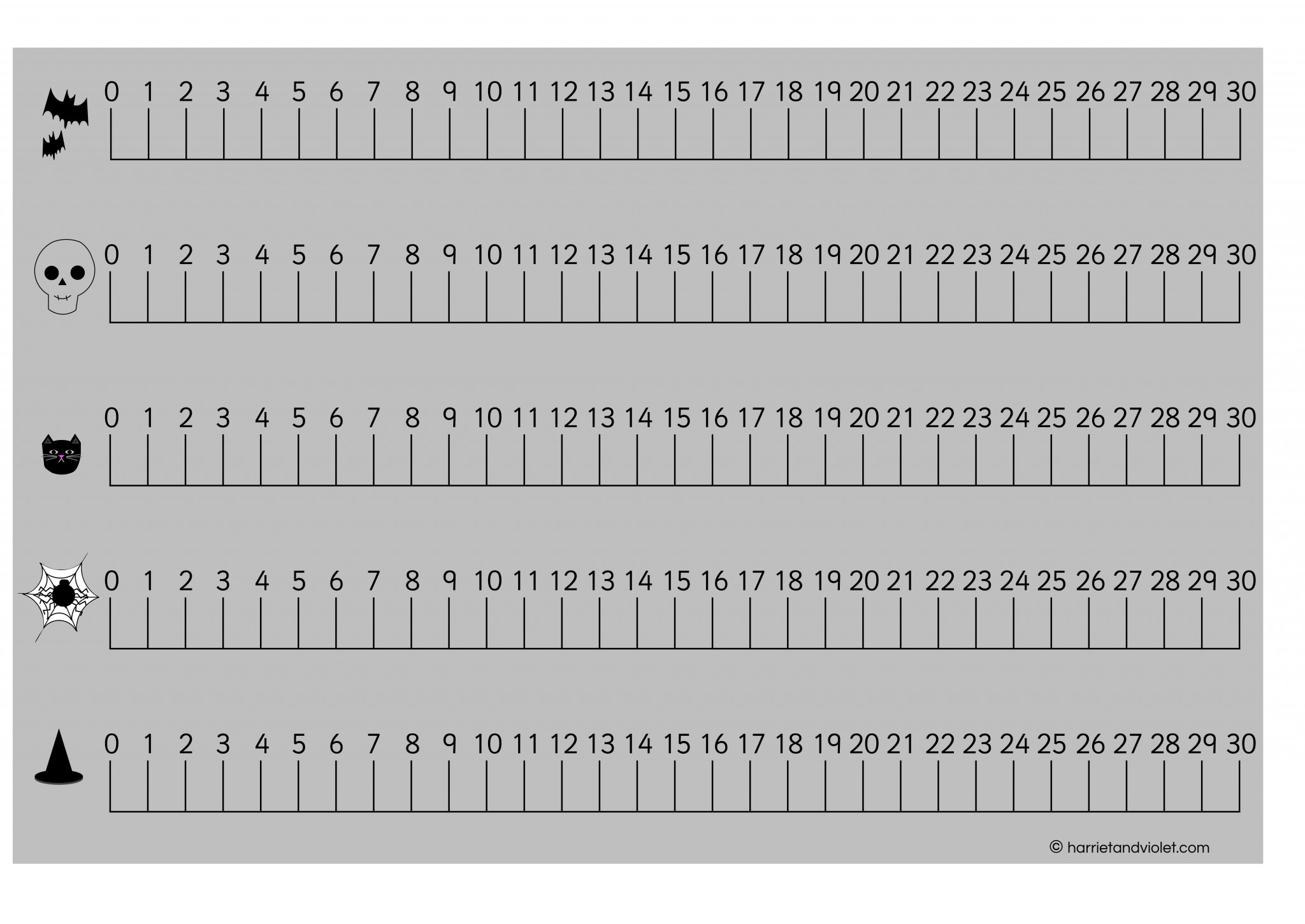 Halloween Number Line 0 30 With Guidelines