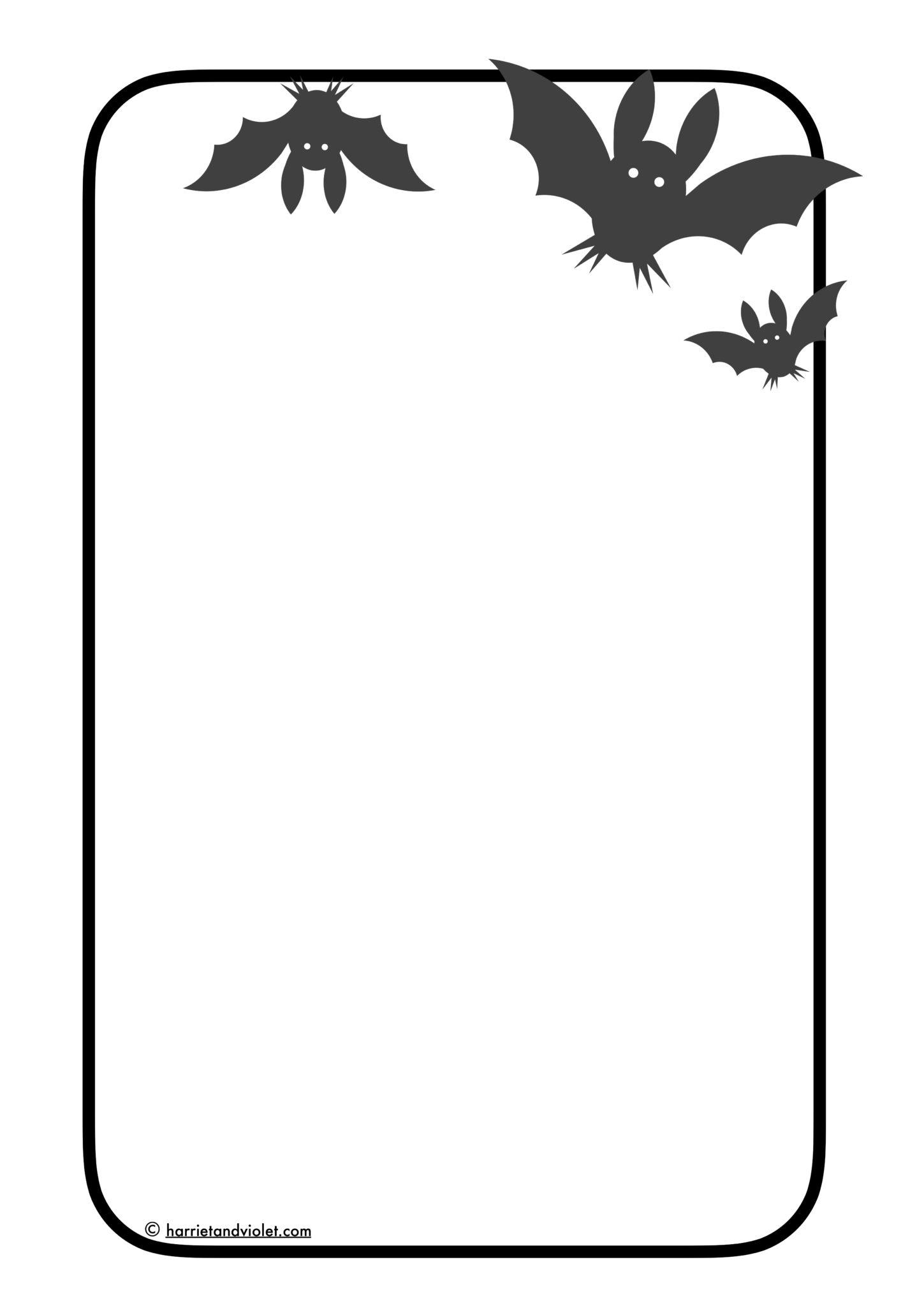 Bat Border Paper A4 Portrait Plain