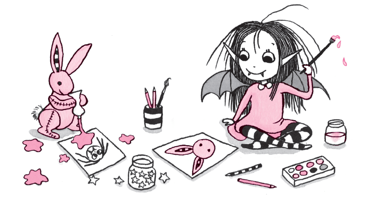 Isadora Moon and Pink Rabbit painting