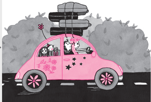 Isadora Moon and family driving to the campsite