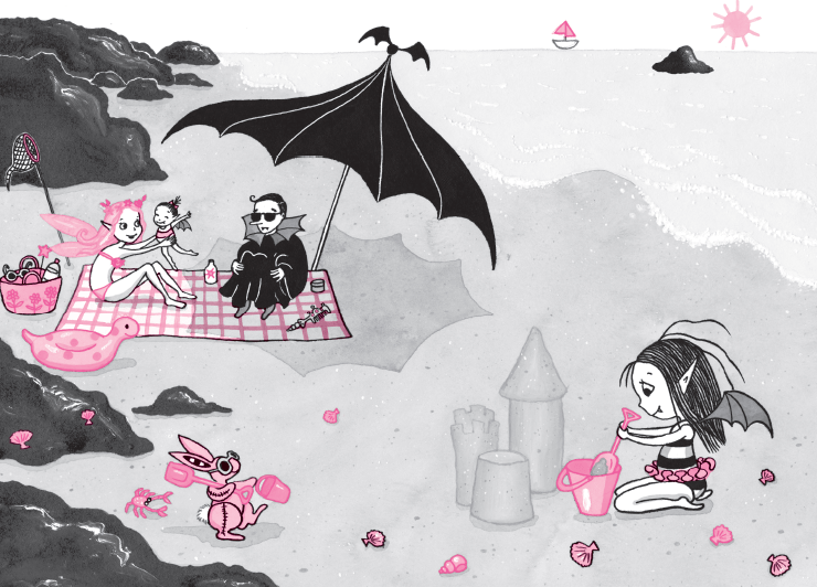 Isadora Moon and family on beachIsadora Moon and family on beach