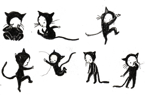 early design sketches for I Am a Witch's Cat by Harriet Muncaster