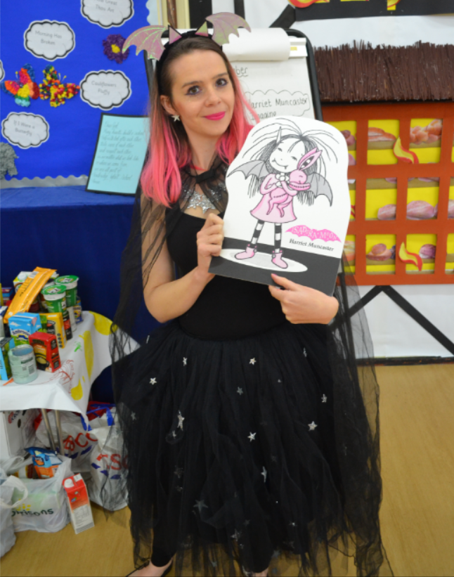 Harriet Muncaster at Howbridge Infant School with Isadora Moon standee small