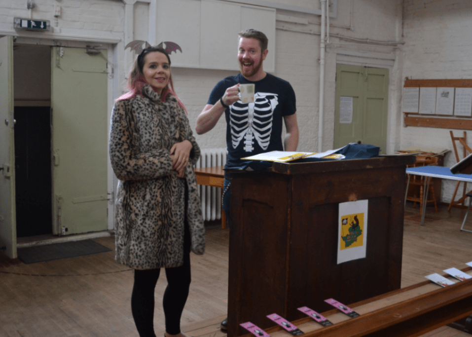 Harriet Muncaster and Danny Pearson at Hitchin Childrens Book Festival