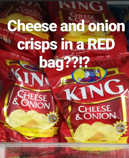 Cheese and onion crisps in red bag