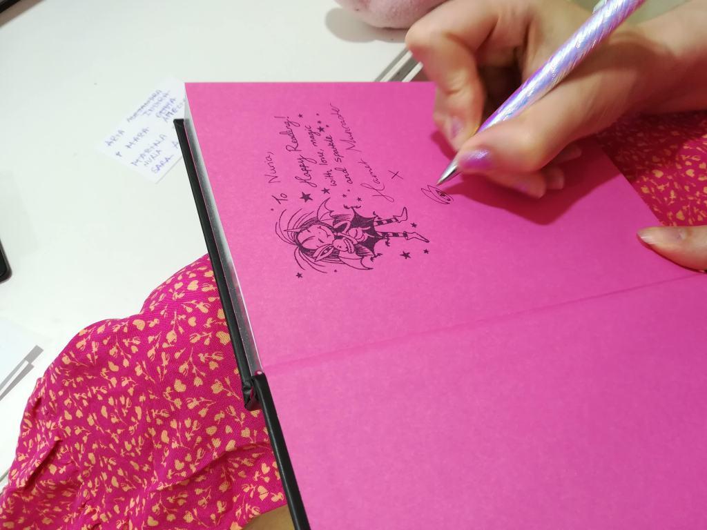 Harriet Muncaster Signing an Isadora Moon Book in Madrid