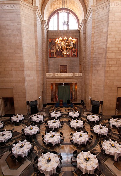 Elegant dinner party in capitol building rotunda