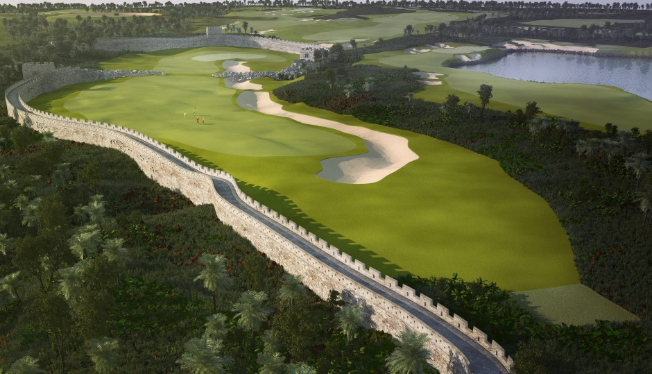 Visualisation showing the par 4 Great Wall hole