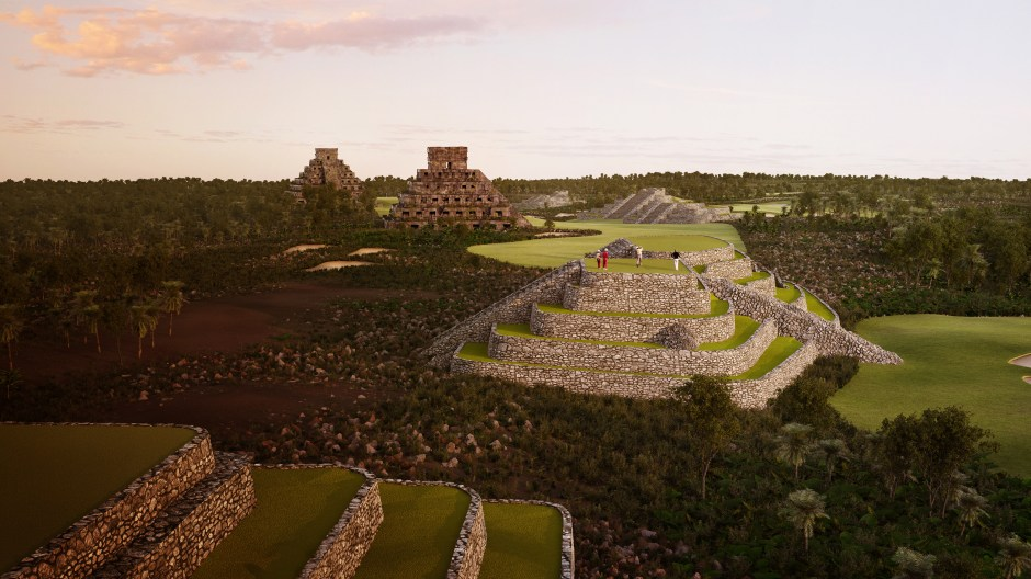 Visualisation showing a view of a tee on top of a replica Mayan ruin