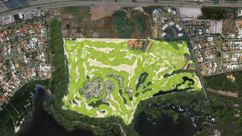 Visualisation showing an aerial view of the golf course
