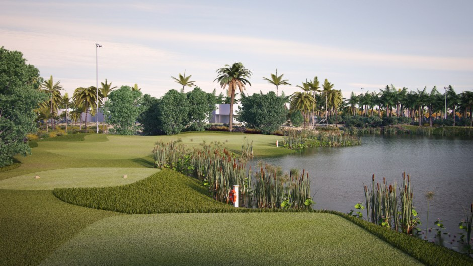 Visualisation showing a view of the 12th hole from the front tee