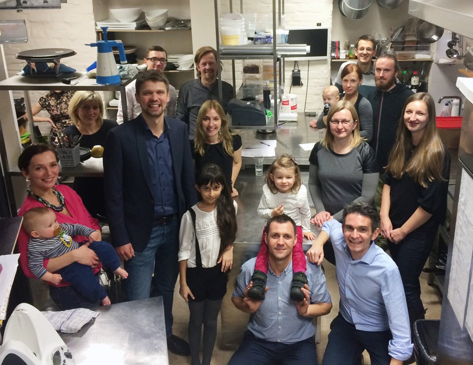 Photo of the Harris Kalinka team in the Kombucha kitchen in Riga