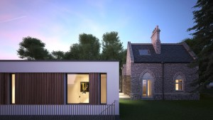 Visualisation showing the existing house and modern extension at dusk