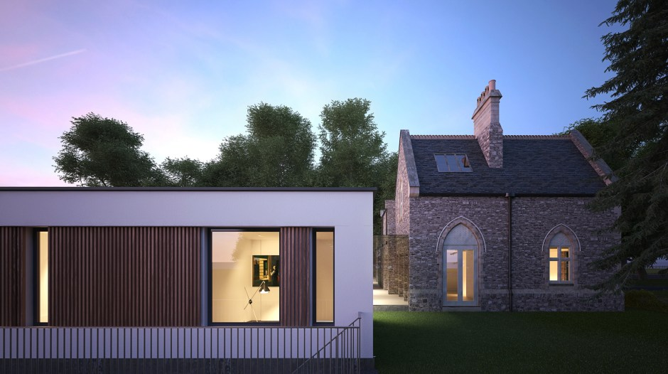 Visualisation showing a dusk view of the existing Fulham Lodge and modern extension
